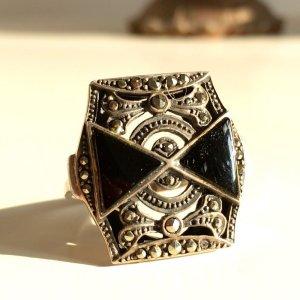 Vintage Anello d'argento nero-argento Argento