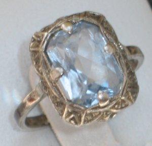 JUGENDSTIL antik Silber Ring Aquamarin Edelstein traumhaftes DESIGN Handarbeit