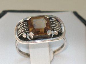 JUGENDSTIL antik Silber Ring echt Rauchquarz Edelstein sehr selten DESIGN Handarbeit