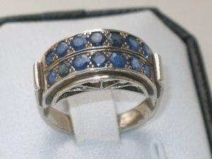 JUGENDSTIL antik Silber Ring echte SAPHIRE sehr selten DESIGN Handarbeit
