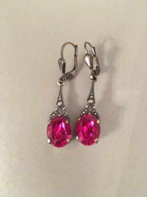 Jugendstil Ohrringe mit Swarovski Elements - Farbe Silber Fuchsia Pink