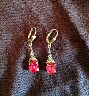 Orecchino a pendente argento-rosa