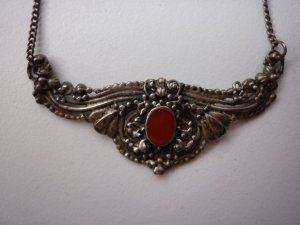 Collier Necklace silver-colored-dark red