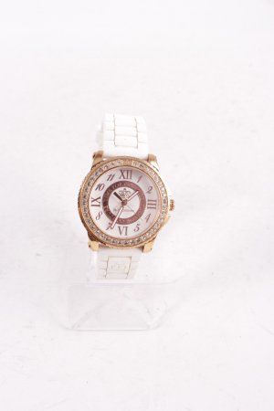 Juicy Couture Analoguhr weiß-goldfarben extravaganter Stil