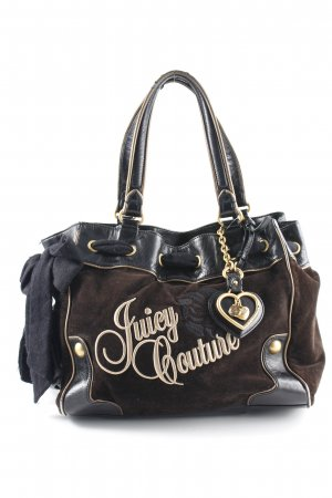 Juicy Couture Beuteltasche schwarz-goldfarben Schriftzug gestickt Bortenbesatz