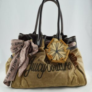 Juicy Couture Daydreamer Bag Velour Beige mit Blume