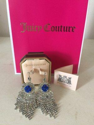 """Juicy Couture, Elegante Ohrringe """"Teardrop"""", Sterlingsilber mit Steinchen und blauem Stein"""
