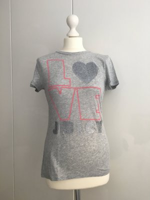 JUICY COUTURE Graues T-Shirt mit Glitzerprint, Gr. S