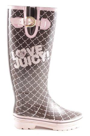 Juicy Couture Botas de agua negro-rosa estampado a cuadros look casual