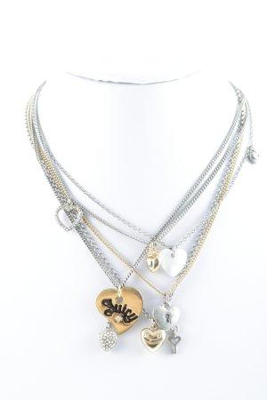 Juicy Couture Halskette silberfarben-goldfarben Herzmuster Glitzer-Optik