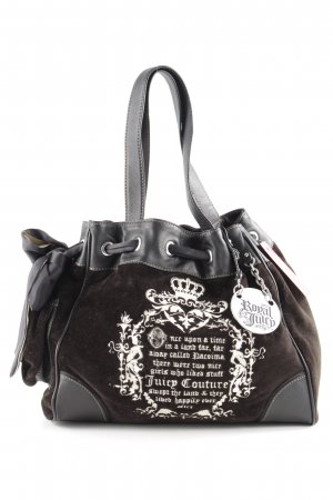 Juicy Couture Handbag dark brown-natural white embroidered lettering