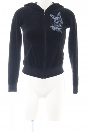Juicy Couture Hooded Sweatshirt black-blue themed print casual look