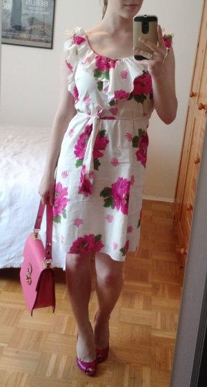 Juicy Couture Kleid S 36 Sommer Floral weiß m. Blumen A-linien blogger feminin