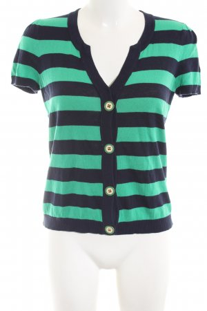 Juicy Couture Short Sleeve Knitted Jacket turquoise-black striped pattern