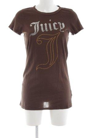 Juicy Couture Longshirt braun Schriftzug gedruckt Casual-Look