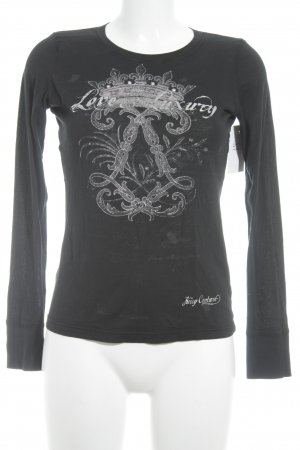 Juicy Couture Longsleeve dunkelblau-altrosa grafisches Muster Casual-Look