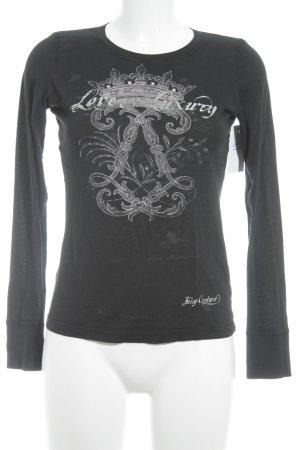 Juicy Couture Top à manches longues bleu foncé-vieux rose motif graphique