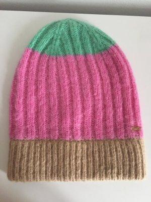 Juicy Couture Mütze haube wollmütze Mohair pink grün beige beanie