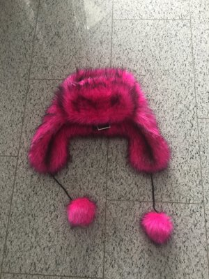 Juicy Couture neu Faux Fox fur Hat in pink mit schwarz