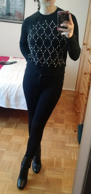 Juicy Couture Pullover Gr. S 36 schwarz Pulli sweatshirt strassteine JC