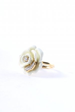 Juicy Couture Ring gold-colored-white floral pattern romantic style