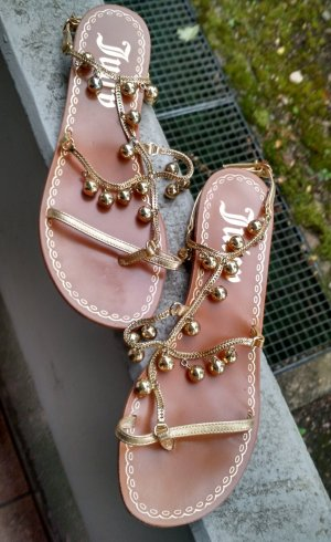 Juicy Couture Sandalen Gr. 38 Zehentrenner Sandalette flach flats sommer gold