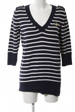 Juicy Couture V-Neck Sweater blue-white striped pattern casual look