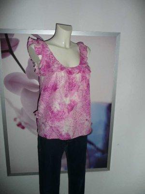 Juicy Couture Volant Rüschen Top Bluse Seide weiß rosa pink S 34-36