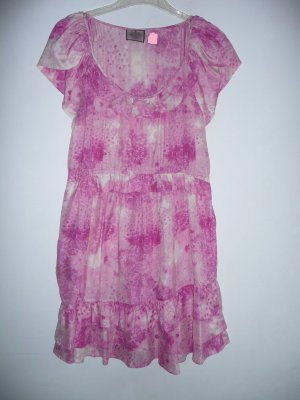 Juicy Couture Volants Kleid Dress Silk Batik Optik Rosa Pink Weiß 100% Seide Gr 38