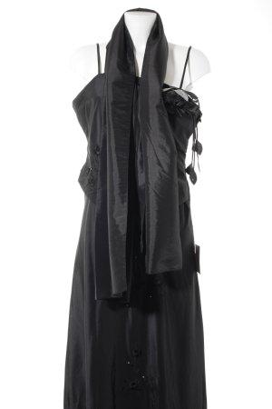 Juju & Christine Abendkleid schwarz florales Muster Dekoelemente