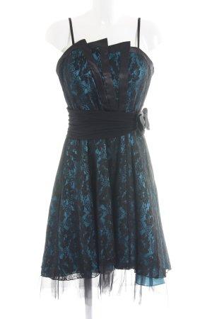 Juju & Christine Ballkleid schwarz-blau Blumenmuster Elegant