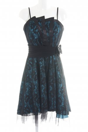 Juju & Christine Abito da ballo nero-blu neon motivo floreale elegante