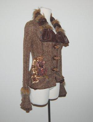 Juju & Christine Gilet tricoté brun tissu mixte