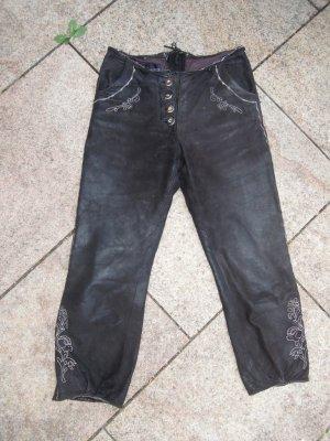 Julia S. Roma Pantalón de cuero marrón-negro