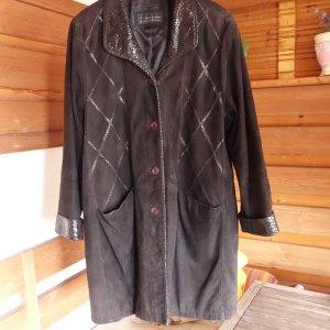 Julia S. Roma Manteau en cuir noir cuir