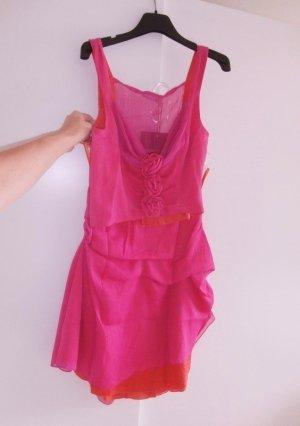 Julia S. Volante jurk zalm-magenta Gemengd weefsel