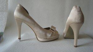 Juliet ´Braut Anlass Peeptoes Satin Creme Perlmutt Elegant & Edel Neu