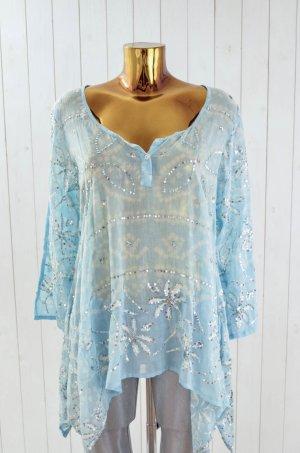 Blusa de túnica azul bebé-color plata Algodón