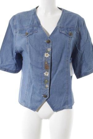 Julius Lang Jeansbluse graublau Blumenmuster schlichter Stil
