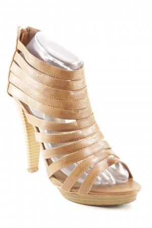 Jumelles High Heel Sandaletten beige-camel Party-Look