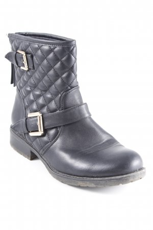 Jumex Ankle Boots schwarz Steppmuster Struktur-Optik