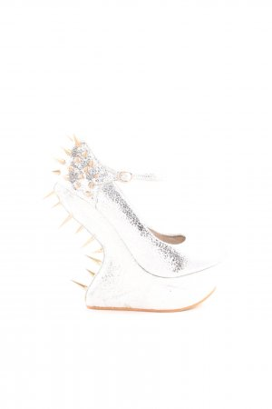 Jumex Mary Jane Pumps silver-colored extravagant style