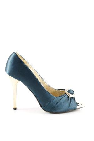 Jumex Peeptoe Pumps blau-goldfarben Elegant