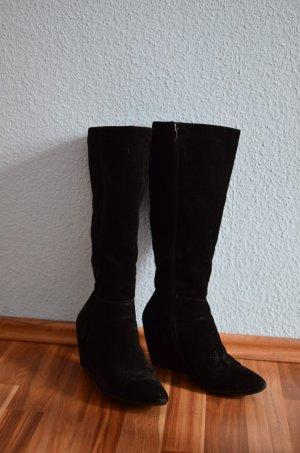 Jumex Stiefel Wildleder Optik Keilstiefel spitz Overknees 40