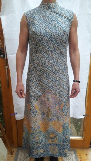 Jumo jeunesse langes, ärmelloses Kleid Polyester naturfarben/bunt elegant Anfang 1970er Jahre