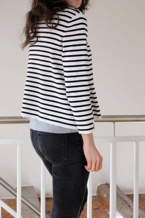COS Gestreept shirt wit-zwart Katoen