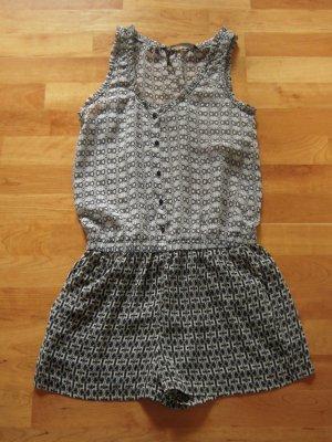 Zara Pantalon court noir-gris clair polyester