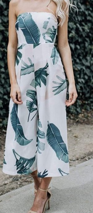 Jumpsuit white-lime-green