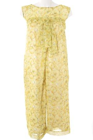 Jumpsuit blassgelb-grün florales Muster Elegant