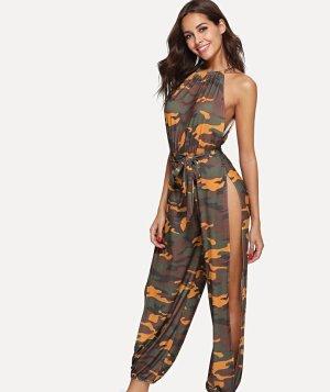 jumpsuit camouflage mit Schlitzen seitlich